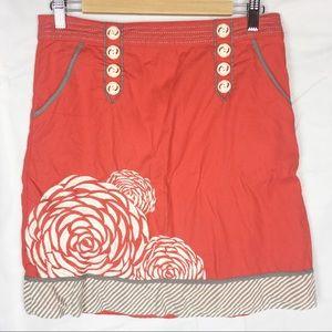 Floreat Anthropologie orange embroidered skirt 4
